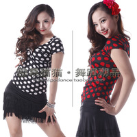 Volvulus breast vintage polka dot Latin dance modern dance short-sleeve dance top sa01