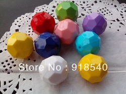 Newest 22MM Mixed Color 90pcs A Lot Acrylic Faceted Hexagon Beads,Solid Round Acrylic beads for Chunky Necklace Jewelry(China (Mainland))