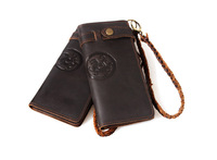 Men's Vertical style Genuine leather Wallet Card Protector leather purses brown 3377