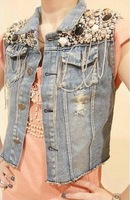 New Womens Jean Vest Sequin Bead Chain Denim Jacket Outerwear Sleeveless Waistcoats h288