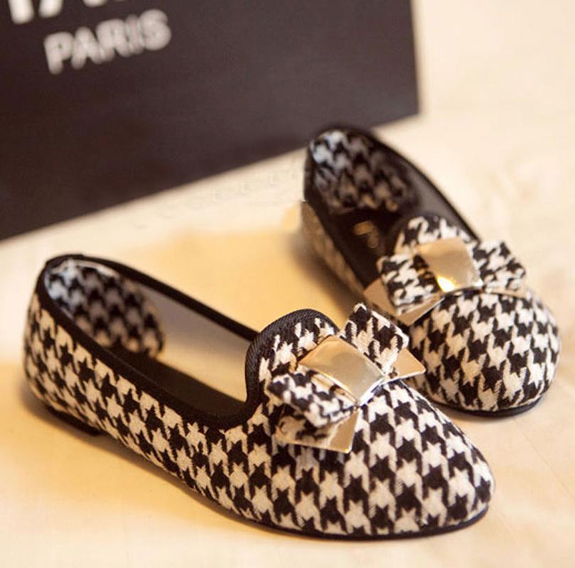 Moda vintage nuovo arrivo caldo- vendita 2013 moda stella pied de poule piatto tacco punta sottolineato piccolo singolo scarpe scarpe femminili