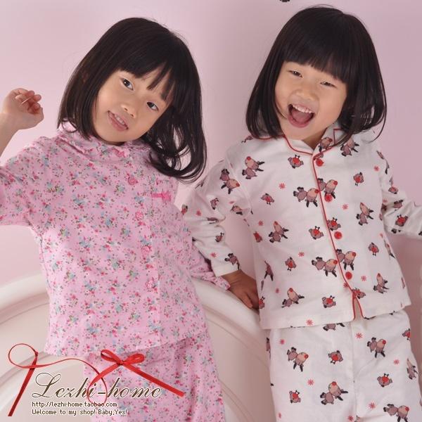 Family fashion autumn 100% cotton flannelet long-sleeve child sleepwear lounge -wmqz1