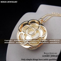Sogo jewelry vintage royal vintage double faced camellia pearl sallei long design sweater necklace
