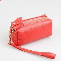 Hot selling 2013 fashion cowhide portable small change mobile phone cosmetic bag female small day clutch Free shipping