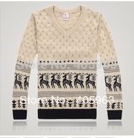 Free shipping mens fashion cartoon deer sweater o neck knitting wear 2014 new sweater