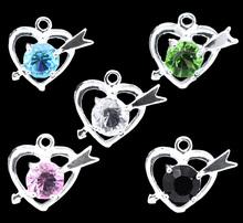 100 Mixed Rhinestone Cupid Heart Charm Pendants 18x16mm