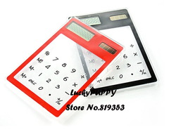 freeshipping Portable transparent Touch Screen LCD 8 Digit Electronic Solar Calculator two colors(China (Mainland))