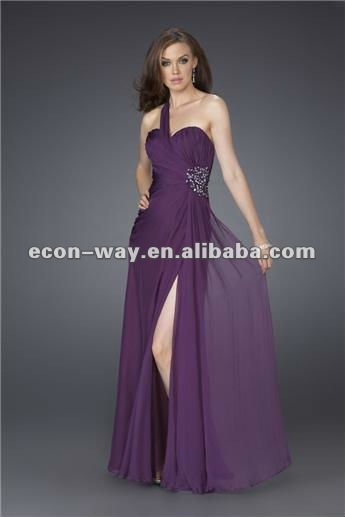 2012 one shoulder furcal purple long evening dress(China (Mainland))