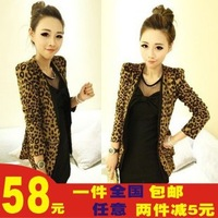 2013 spring women's leopard print slim short jacket female spring and autumn short coat female suit design