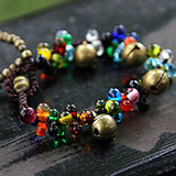 (Mix order ) Knitted Women bohemia vintage colored glaze bells bracelet hand ring jewelry