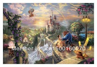 "Free Shipping (1 piece/pieces) Giclee Printed On Canvas Thomas Kinkade Oil Painting Dreams Collection VI ""Beauty and the Beast"""