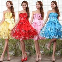 2015 new arrival short bride Lace evening dress formal dress tube top design short Embroidery formal dress