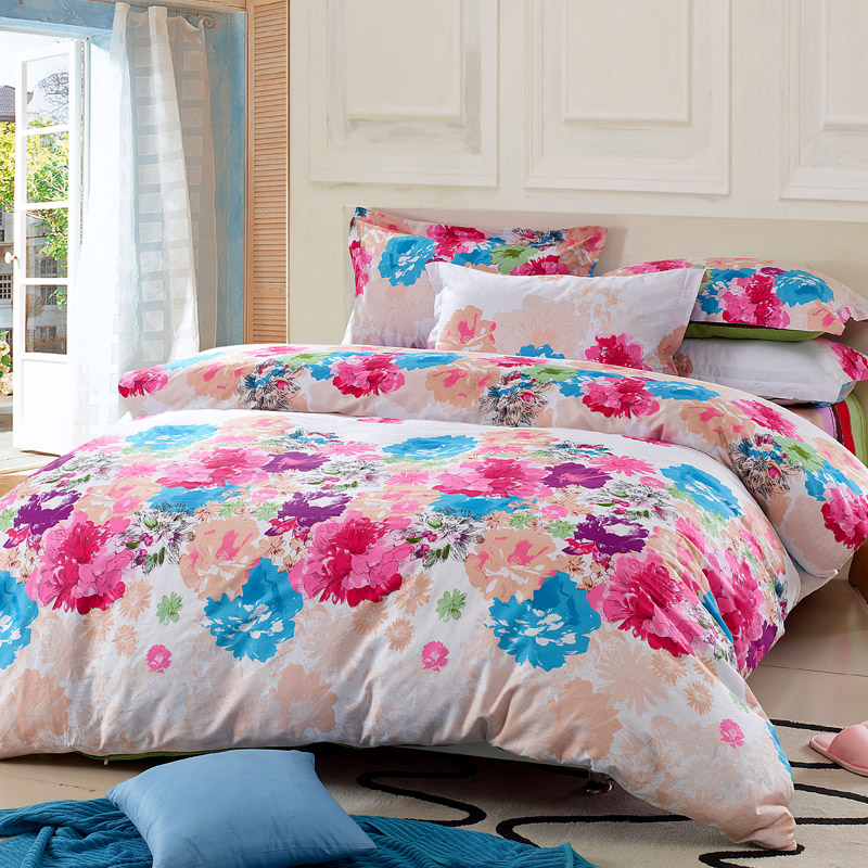 A textile 100% slanting cotton stripe four piece set bedding 100% cotton print duvet cover bed sheets small fresh(China (Mainland))