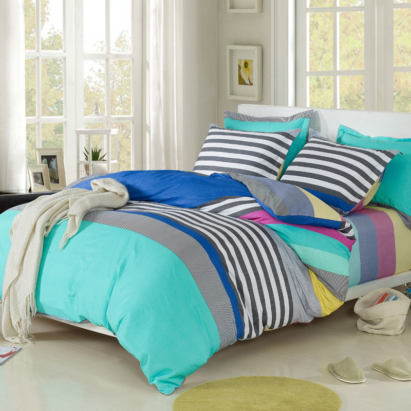 A textile 100% slanting cotton stripe four piece set bedding 100% cotton fashion print double duvet cover bed sheets(China (Mainland))