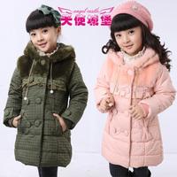 Female child wadded jacket children's clothing winter 2012 cotton-padded jacket cotton-padded jacket long design child wadded