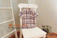 boys plaid shirt short sleeve boys fashion kids clothing 2T-7T  free shipping T130317