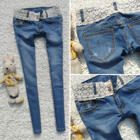 Free shipping 2013 thin blue skinny jeans pants women's the waist lace slim pencil pants