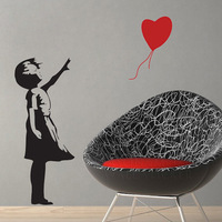 Banksy Style Balloon Girl 'There is always hope' Wall Stickers  Vinyl Decal   Wall Decor  100*120CM  Free shipping