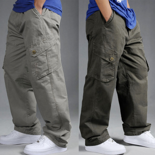 Autumn and winter casual pants male loose plus size plus size elastic waist pants male multi-pocket overalls male fat pants