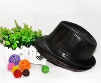 Spring and summer plain casual hat jazz hat fashion short brim campaniform genuine leather fedoras male black