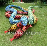 Free Shipping Wholesale 4Pcs/Lot 280cm Snake Python Plush Toys Creative Children  Birthday April Fool's Day Gift Car Home Decor