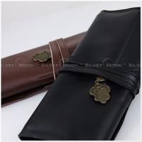Vintage strap genuine leather pencil case pencil case cosmetic bag
