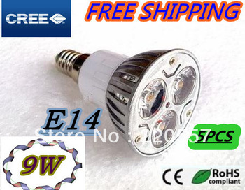 100% Eneryv saving bulb GU10 E27 MR16 E14 5pcs/lot  3X3W 9W LED Spotling bulb LED high powe bulb 110-240v Dimmable free shipping