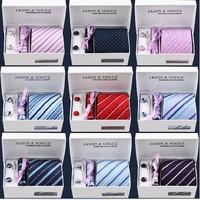 Free Shipping 6pcs/set gift box 100% Silk ties Men's Ties Necktie Plaid Stripe Mans Tie Neckties
