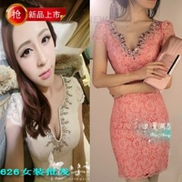 Spring new arrival fashion women's tight slim hip sexy lace one-piece dress slim dress