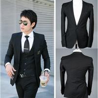 2014 new men' suit Luxury elegant black  chaldean knitted slim blazer male