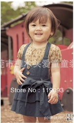Free shipping thousands of interest will be big butterfly knot bull-puncher skirt with shoulder-straps dress of the girls(China (Mainland))