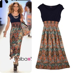 2013 Summer women's chiffon one-piece dress bohemia national wind ladies chiffon full dress long design thin skirt(China (Mainland))