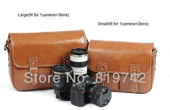 PU Leather SLR DSLR Camera Lens Case Bag Digital SLR Camera Sling Casual Shouler Messenger Bag For Canon Olympus Free Shipping