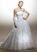 On sale mermaid short tail trailing slim wedding dress satin dresses 2013 yarn embroidery lace up princess bridal gown
