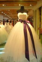 On Sale New Autumn 2014 Women's Clothing Cheap Satin Wedding Ball Gowns Dress Tube Top Yarn Slim Wedding Dress With Belt Sashses