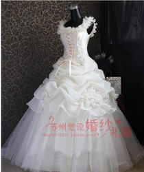 Wedding dress spaghetti strap yarn wedding dress formal dress embroidery paillette lace yarn(China (Mainland))