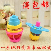 Spring card oval shape luminous spinning top toy
