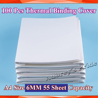 100PK A4 Size 6MM 55Sheets Capacity 70g Pages Bind Cover for PERFECT HOT GLUE Thermal Binding BOOK BINDER Binding Machine