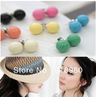 Free shipping Fashion Women's Earrings/ Lovely lady Earrings/ Candy Colored Ball Stud Earrings 10 colors
