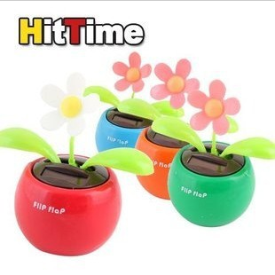 Free shipping!Swing solar flower car decoration automatic swing pieces of apple flower solar toy!Hot new!