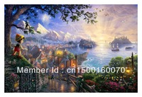 "Free Shipping (1 piece/pieces) Giclee Printed Canvas Thomas Kinkade Painting Dreams Collection II ""Pinocchio Wishes Upon A Star"""