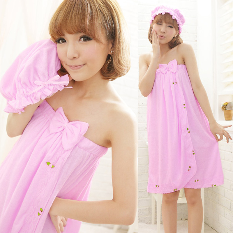 Summer Tube Top Design Bathrobe Spring Autumn Women's Nightgown Toweled Towel Bathrobe Bath Skirt Lovely Sleepwear Lounge(China (Mainland))