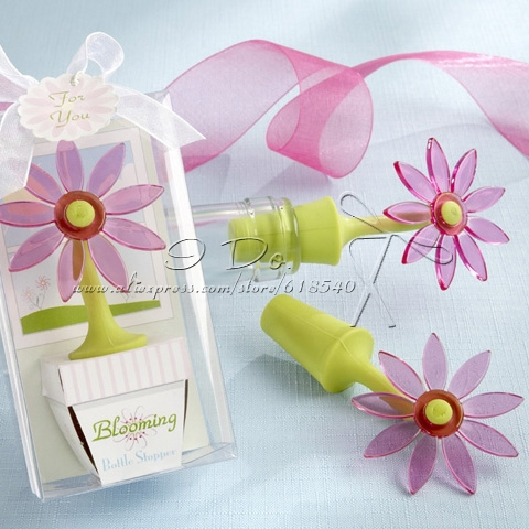 Free Shipping Small Flower Wine Stopper Wedding Favor/Party Favor/Bottle Faovr/Wedding Gift(China (Mainland))