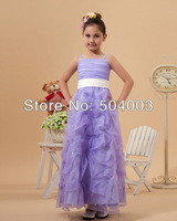 Custom-made Cute Ball Gown Spaghetti Straps Ankle-Length Satin & Organza & Pleat Flower Girl Dress free shipping