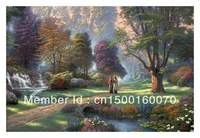 "Free Shipping (1 piece/pieces) Giclee Printed Canvas Thomas Kinkade Oil Painting ""Walk of Faith"" Christianity Jesus Religion Art"
