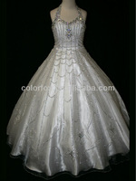 White Hand Sewn Rhinestones Covered Halter Top & Bodice Floral Shape Detailed Hem Lace Up Back Junior Girls Long Pageant Dress