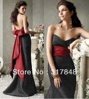 2013 newest freeshipping eye catching black backless empire ruffle with red bow sash mermaid satin bridesmaid dresses BD128