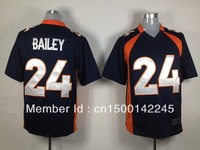 Arrived New Denver Football Jersey # 24 Champ Bailey dark blue Game Jersey