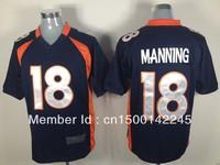Drop ship ameircan football jerseys #18 payton manning dark blue elite jerseys wholesale mix order