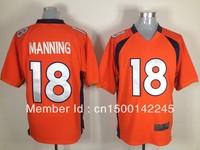 Drop ship ameircan football jerseys #18 payton manning orange elite jerseys wholesale mix order